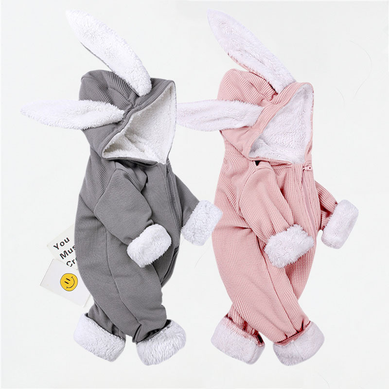 Baby Boy Baby Girl Clothes Crawling Suit Jumpsuit Newborn Cotton Thickened Cartoon Rabbit Ears Jumpsuit Zipper Crawling Suit