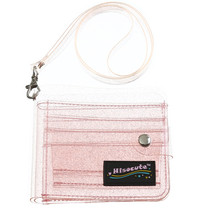 Прозрачный держатель для карт, складной короткий кошелек из ПВХ, Модный Блестящий чехол для визиток, кошелек с ремешком, лидер продаж