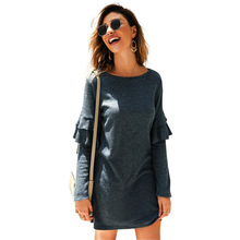 New 2019 Autumn Winter Knitted Sweater Dress Long Sleeve Loose Mini Dresses Fashion O-Neck Pullover Female Ruffle Dress Vestidos цены
