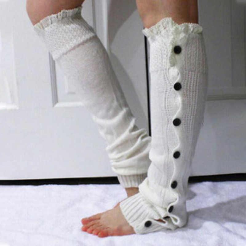 Sparsil Vrouwen Knit Foot Cover Enkele Breasted Lace Edge Knie Enkel Mouw Warme Lange Sok Herfst Winter Laarzen Cover Been protector