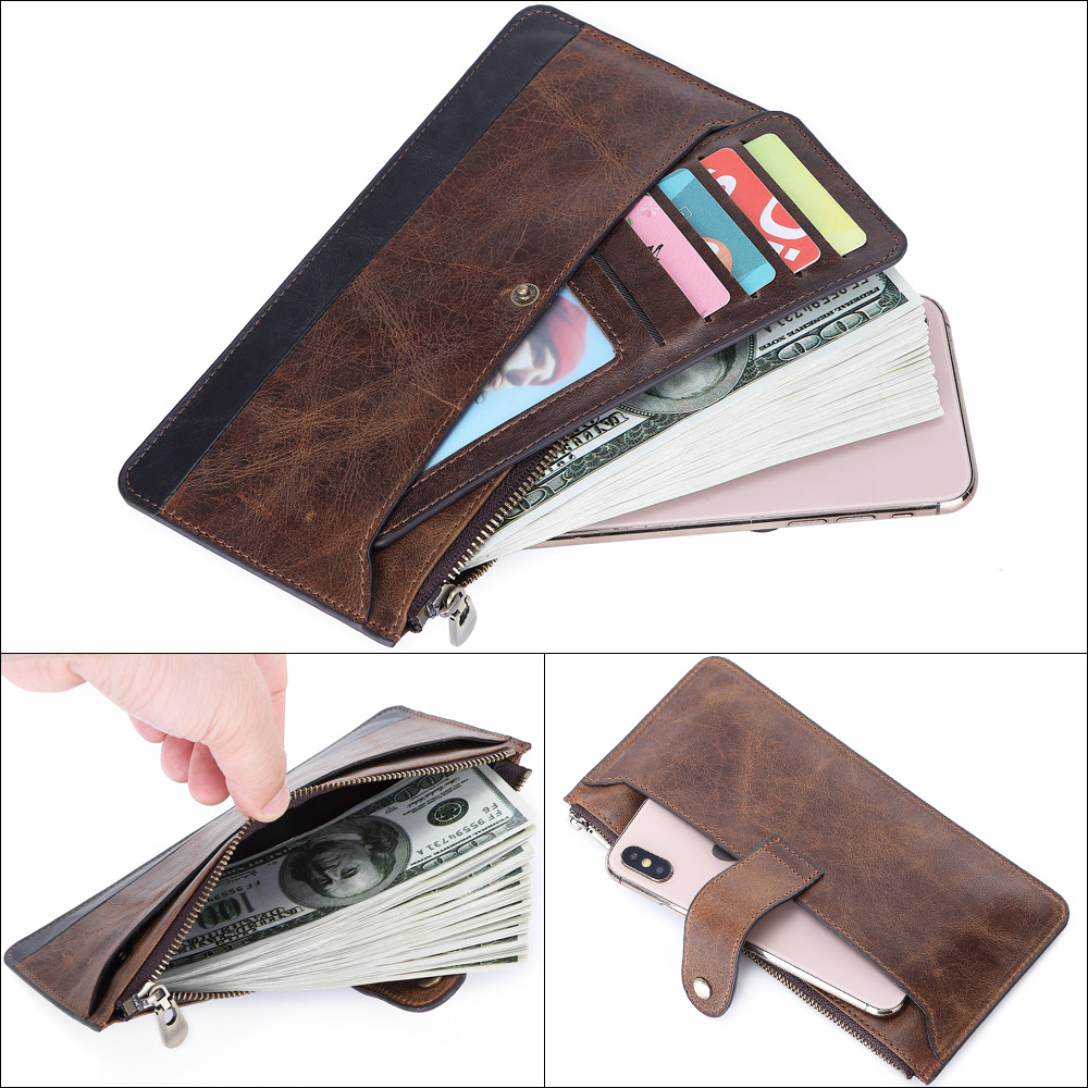 Image 4 - 2019 Fashion Men Wallets with Coin Purse Long Male Money Purses Dollar Mens Money Phone Bag Genuine Leather Thin Clutch WalletWallets   -