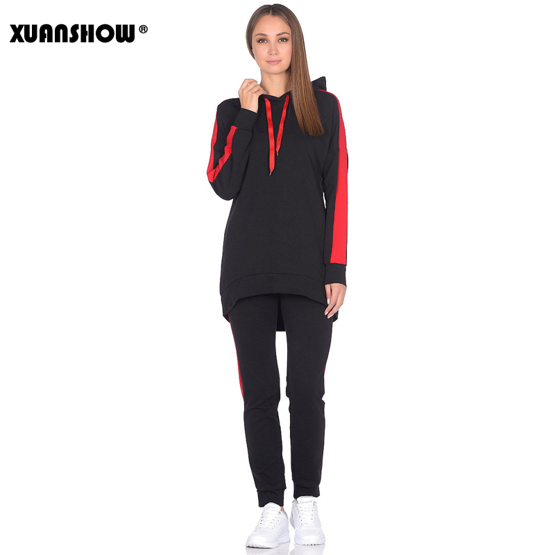 XUANSHOW New Autumn Winter Female 2 Piece Set Tracksuit For Women Long Sleeve Long Hoodies+Pants Two Piece Set Outfit Women Suit
