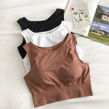 Original  Seamless Sports Vest women tank tops Gathered With Steel Ring Free One-piece Chest Cushion Sports Back Femal padded