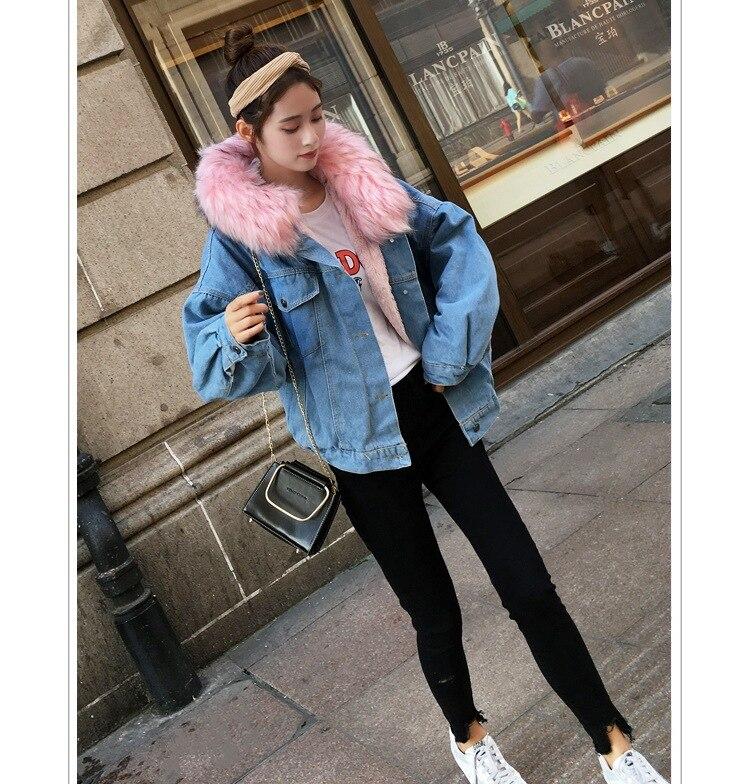 H4a133330079a41979fe8f218430c42d2i LUZUZI 2019 New Warm Winter Bomber Women Winter Autumn Hooded Girls Coat Jeans Denim Jackets Basic Ladies Top Windbreaker Female