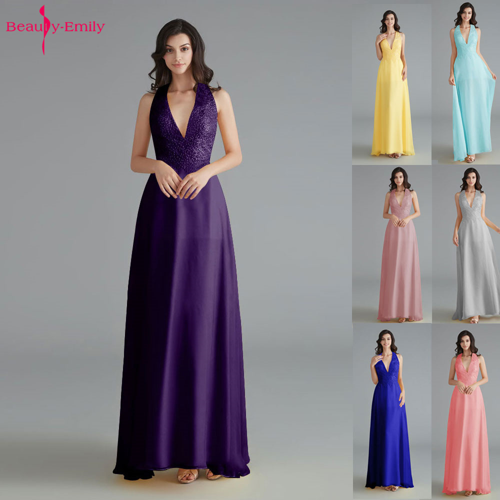 Beauty Emily V Neck Beads Lace 2019 Bridesmaid Dresses Sleeveless Chiffon Wedding Party Dress Open Back Vestido de dama de honor