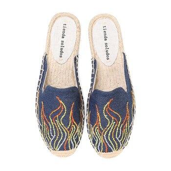 Zapatillas De Unicornio para Mujer Alpargatas planas pintadas a mano De goma De cáñamo, para primavera y otoño, 2020