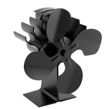 Black Fireplace 4 Blade Heat Powered Stove Fan Log Wood Burner Eco Friendly Quiet Fan Home Efficient Heat Distribution