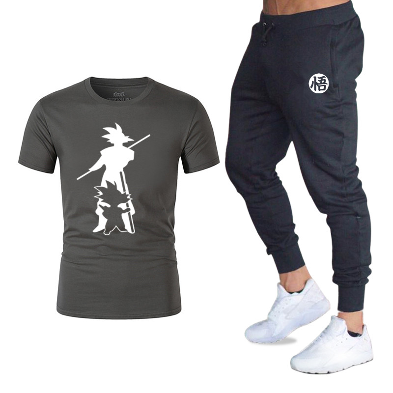 New Men Sets T-shirt + Pants Two Pieces Sports Tracksuits Masculine Casual Tshirt Gyms Fitness Pants   Men's Brand Classic