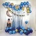 87 хромированные колпачки из золотистого металла воздушные шары гирлянда арочный комплект матовый синий шары из латекса Baby Shower одежда для с...