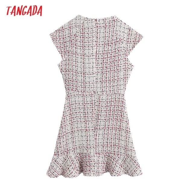 Tangada 2021 Autumn Winter Women Ruffles Tweed Dress V Neck Back Zipper Females Mini Dresses Vestidos BE102 6