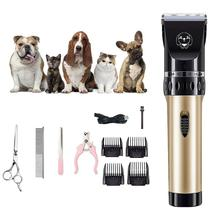 Dog Clippers Low Noise Pet Clippers Rechargeable Dog Trimmer Cordless Pet Grooming Tool Professional Dog Hair Trimmer with Guide professional dog hair clippers grooming kit low noise rechargeable cordless dog cat pet electric hair clipper​ trimmer 100v 240v