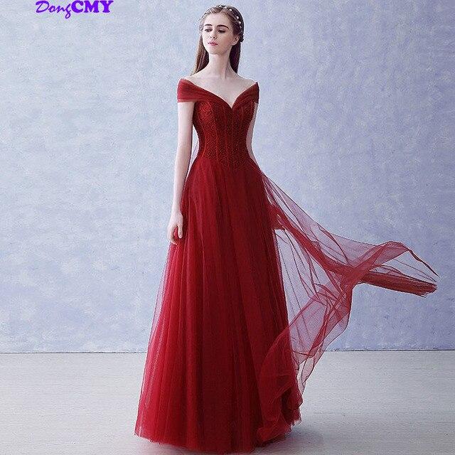 New 2020 Long Burgundy Evening Dresses Formal Performancel Pearls Midi Prom Party Fashion Women Dress