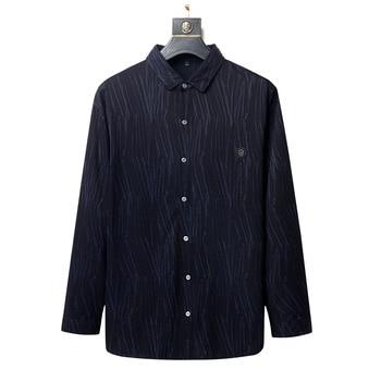 Plus Fat plus Size Shirt Dad Pack Big Size Men's Wear Shirt Fat Man Fat Business Leisure Long Sleeve Inch Shirt Autumn