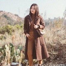 Осень/Зима Новое клетчатое зимнее пальто куртка женские длинные пальто