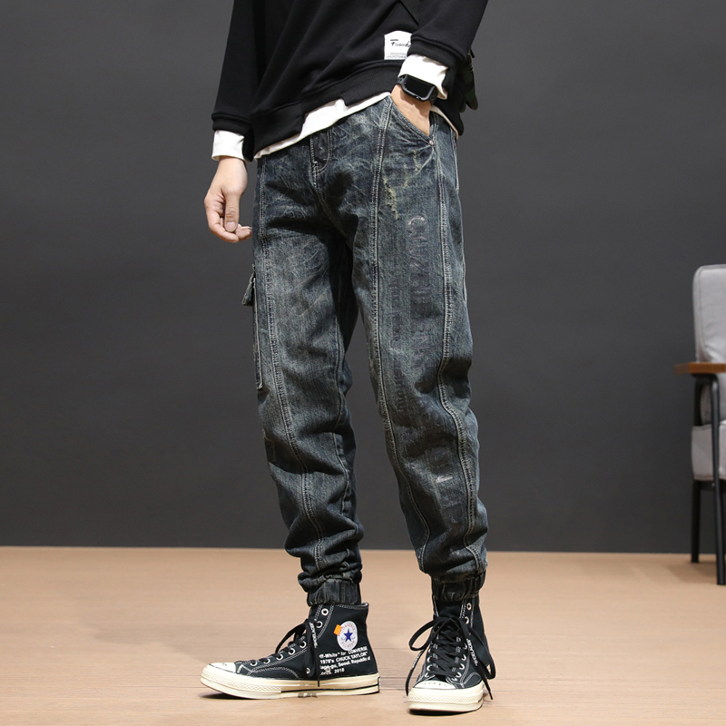 Fashion Streetwear Men Jeans Retro Wash Loose Fit Spliced Designer Harem Pants Big Pocket Cargo Pants Hip Hop Jeans Men Joggers