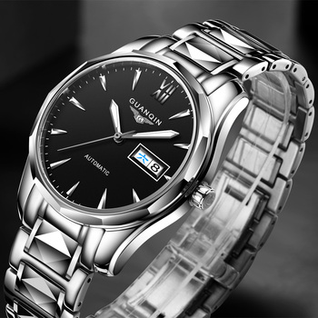 GUANQIN Automatic Mechanical Men Watch Tungsten Steel Luminous Watches Date Calendar Japanese Movement Watch with Leather Strap parnis power reserve auto date 47mm mechanical men s watch st2530 auto movement black leather strap
