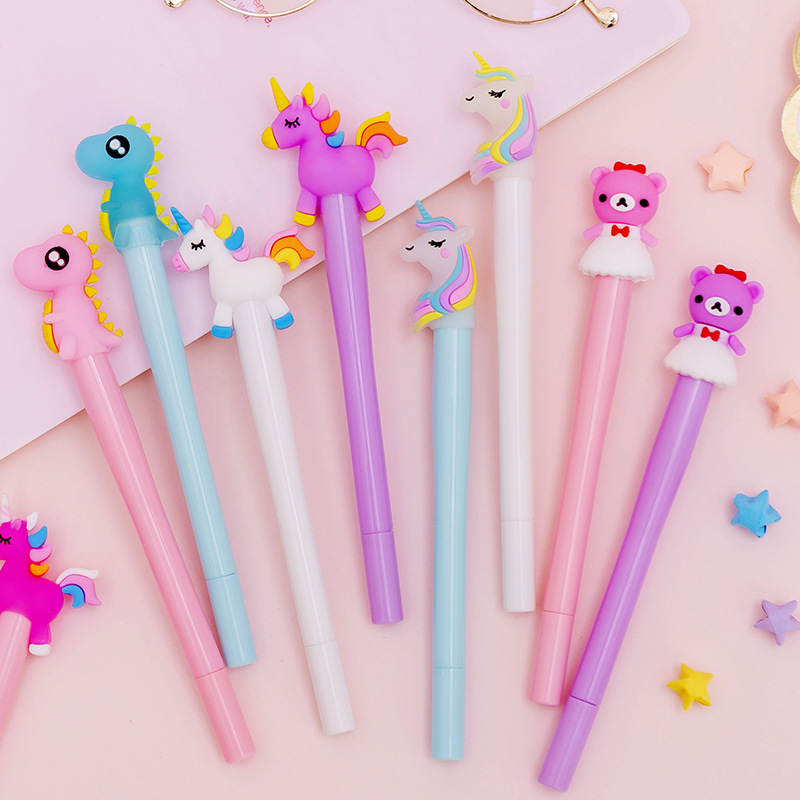 Kawaii Unicorn Light Silica Head Gel Pen Novelty Neutral Pen For Writing Kids Gift Office School Supply Lovely Papeterie