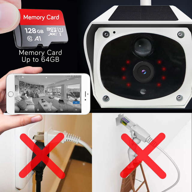 HD 1080P Solar WiFi IR Bulllet Security IP Camera Outdoor Sony IR Night Vision Audio PIR Alarm CCTV Battery Camera with SD Card 4