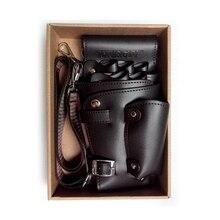 PU Leather Rivet Hair Scissor Bag Clips Bag Hairdressing Barber Scissor Holster Pouch Holder Case with Waist Shoulder Belt Brown