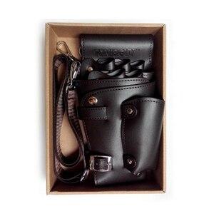 Image 1 - PU Leather Rivet Hair Scissor Bag Clips Bag Hairdressing Barber Scissor Holster Pouch Holder Case with Waist Shoulder Belt Brown
