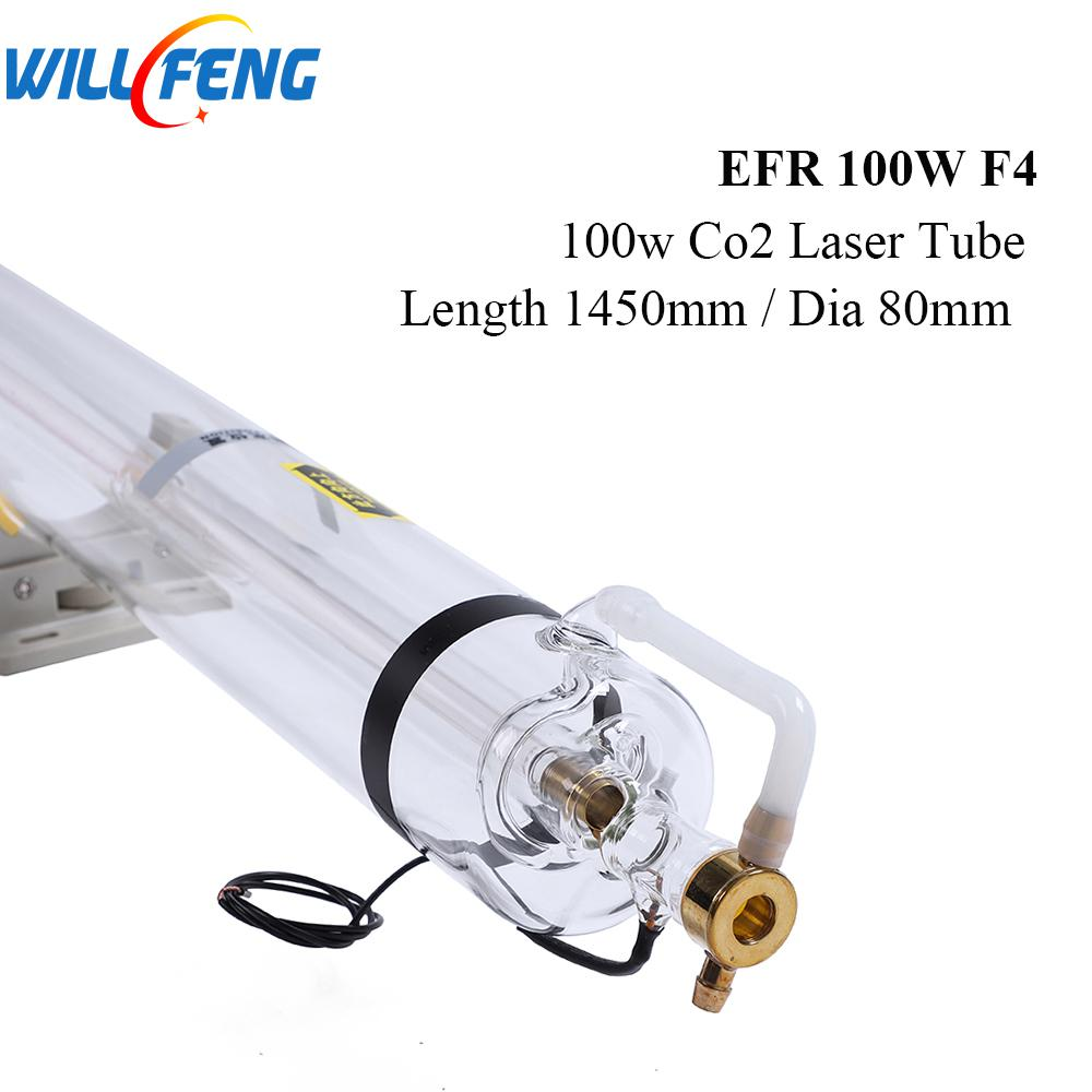 Will Feng 100W EFR F4 Co2 Laser Tube Length 1450mm Diameter 80mm For Laser Cutter Engraving Machine 6000 Hours Glass Pipe