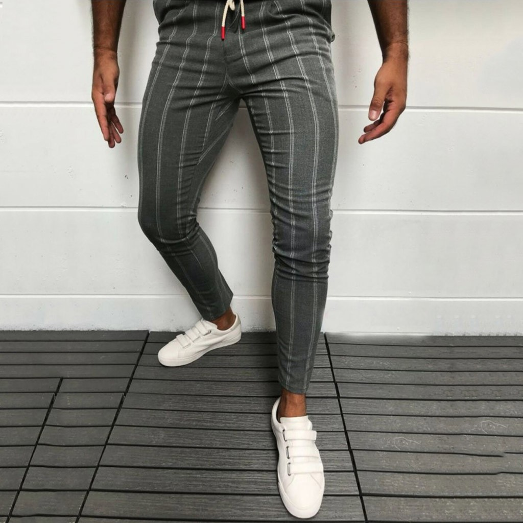 Men's Casual Pants Ankle-Length Elastic Strap Striped Jogger Sports Pocket Fitness Sweatpants Long Pants #35