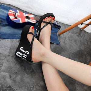 Image 4 - XMISTUO Fashion Women Flip Flops Female Summer Beach Wedges Water resistant 11cm Super High heeled Slippers 4 Color 7041