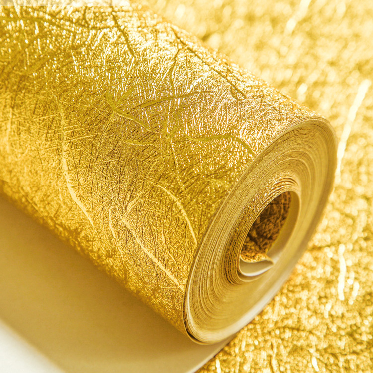 Thick Pure Gold Silver Waterproof KTV Bar Wallpaper Top Grade Hotel Workwear TV Backdrop Gold Foil Wallpaper
