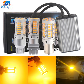 цена на 2pcs Canbus 1156 BA15S P21w BAU15S PY21w T20 7440 W21W 3156 LED Bulbs 3030 69 SMD Amber NO Error Car Turn Signal light NO Flash