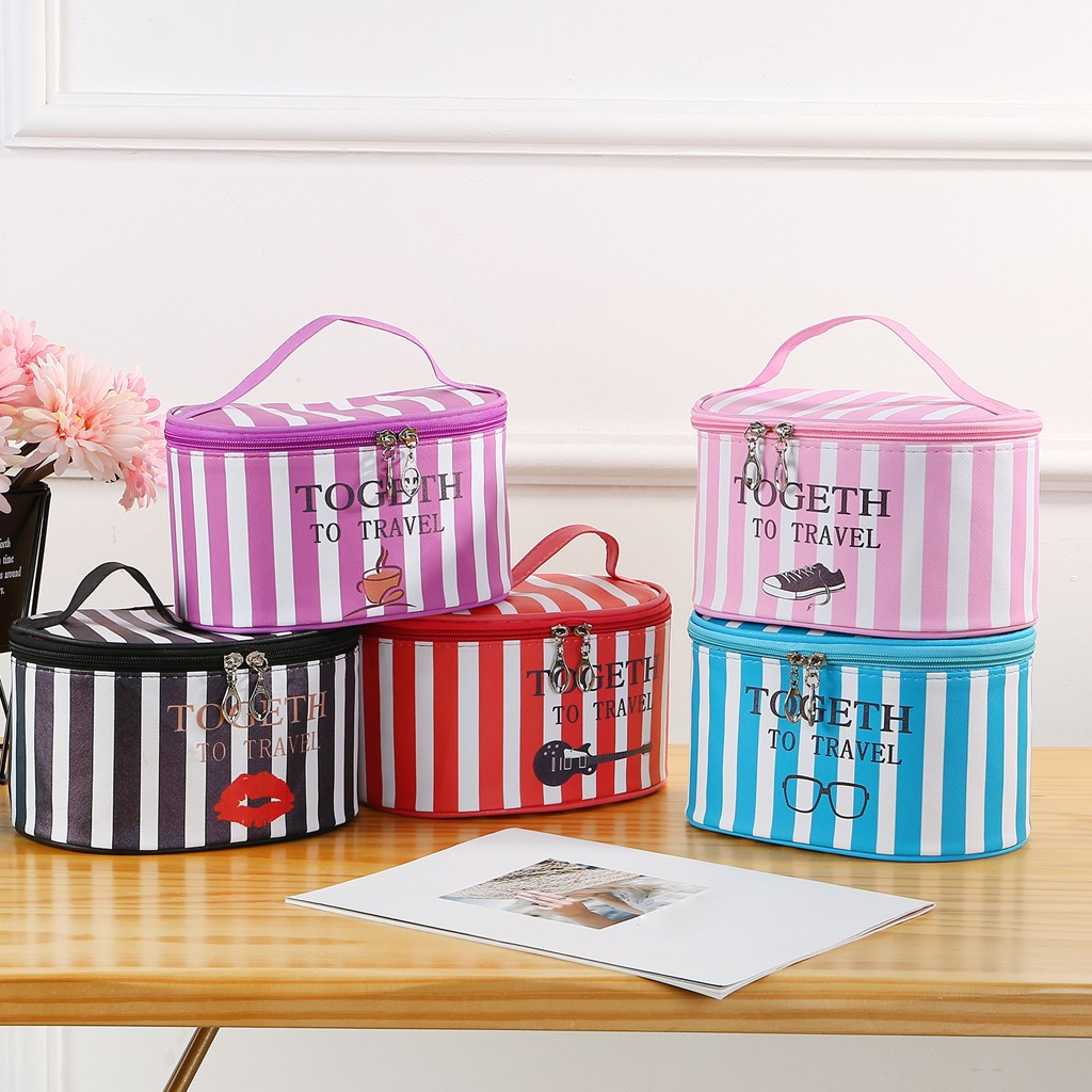 Make Up Cosmetic Bags Big Capacity Striped Box Fashion Women's Simple Large Capacity Oxford Cloth Storage Bag Cosmetic Bag