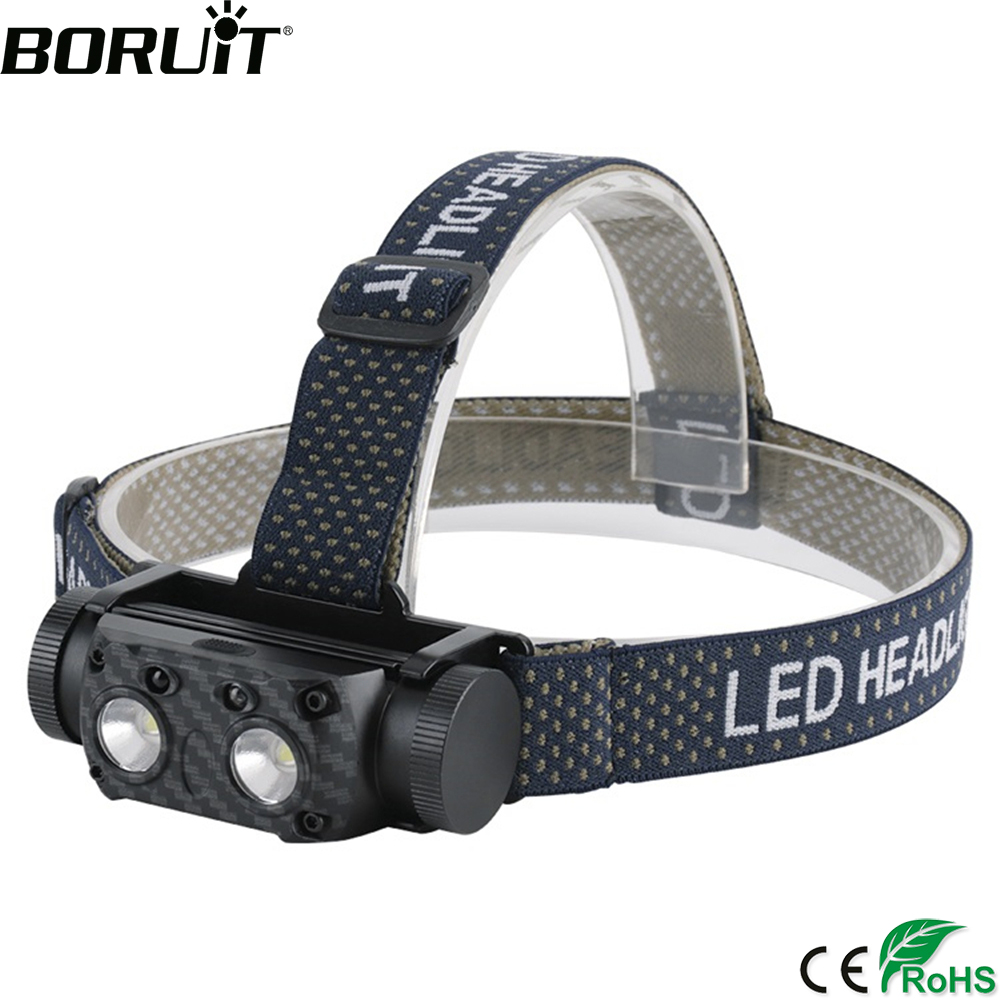 BORUiT B35 IR Motion Sensor Headlamp XM-L2 LED Max.3000LM Headlight 21700 Rechargeable Head Torch Camping Hunting Flashlight