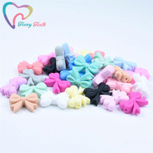 5 PCS Silicone Bow Tie Loose Beads Food Grade Baby Chewable Teething Toys Nursin