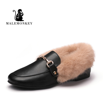 2019 Winter Woman Shoes Black Genuine Leather Fur Fluffy Warm Slip-On Solid Square Toe Loafers Women Soft Ballet Flats Shoes