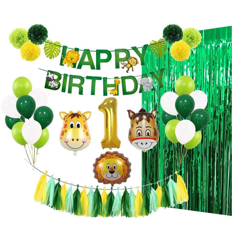 Baby 1st Birthday Party Balloons Decoration Set Animal Ballons Wild Jungle Theme Green Foil Tinsel Curtain Decor For Children