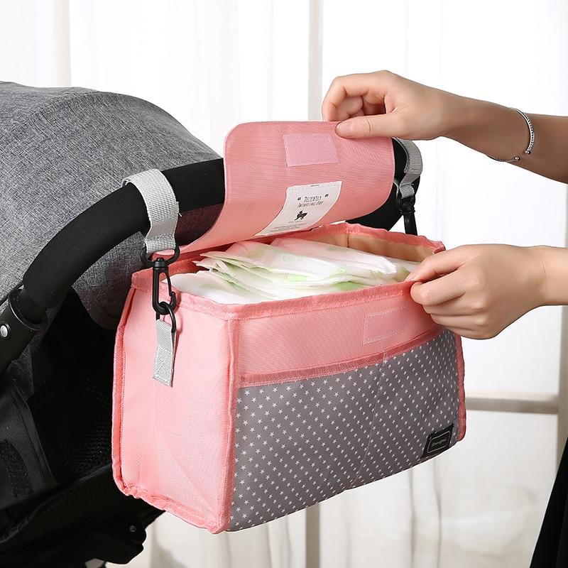 Baby Stroller Bag Nappy Diaper Mummy Bag Hanging Basket Storage Organizer Baby Outdoor Feeding Bottle Bag Stroller Accessories