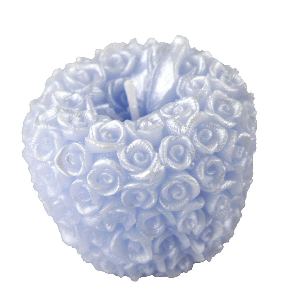 Роза Свеча в виде яблока Рождество День святого Валентина свадебные свечи подарки - Цвет: Blue