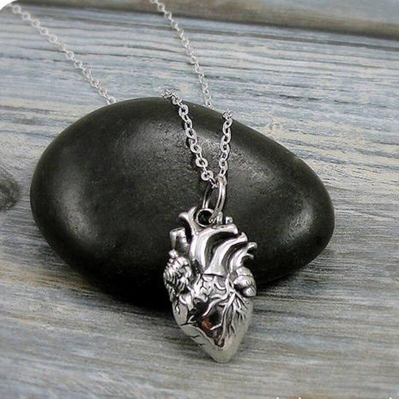 Анатомическое Сердце покрытые сплавом Анатомическое Сердце Браслеты с подвесками на цепного каната Цепочки и ожерелья