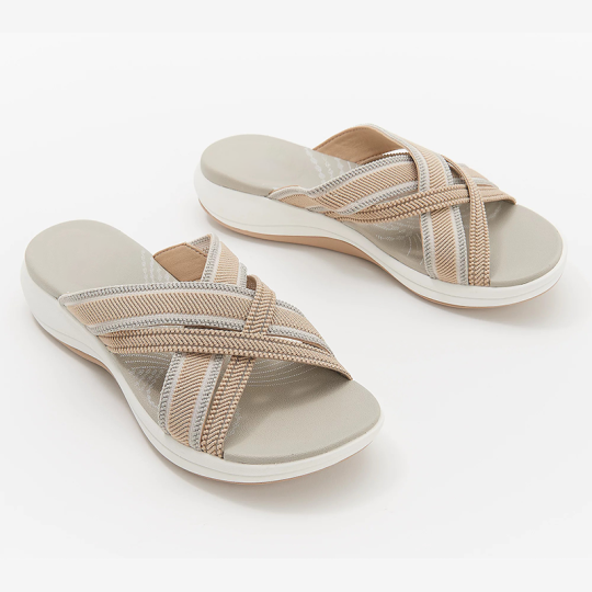 Stretch Cross Orthotic Slide Sandals