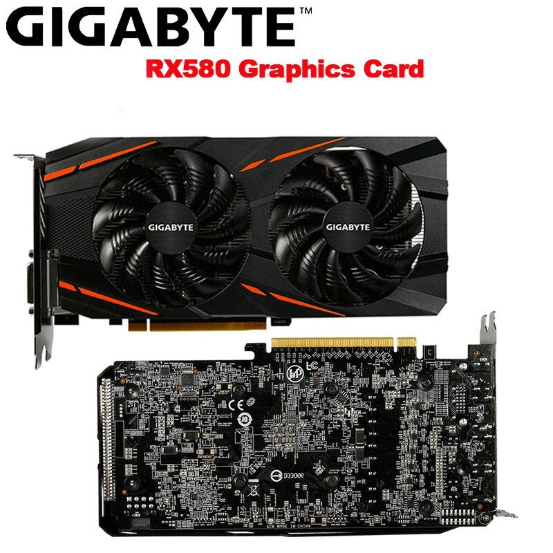 GIGABYTE RX580 Video Cards 8GB Radeon RX580 8GB Graphics Card For AMD Display Port HDMI DVI-D PCI-E3.0*16 DesKtop Used