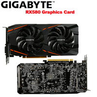 GIGABYTE RX580 Video Cards 8GB Radeon RX580 8GB Graphics Card for AMD Display Port HDMI DVI D PCI E3.0*16 DesKtop Used