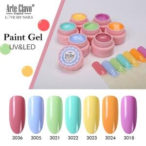 Arte Clavo 5 мл, гель для рисования, дизайн ногтей, маникюр, замачивание, эмаль, Гель-лак, УФ-гель для ногтей, 72 цвета, Блестящий лак для ногтей