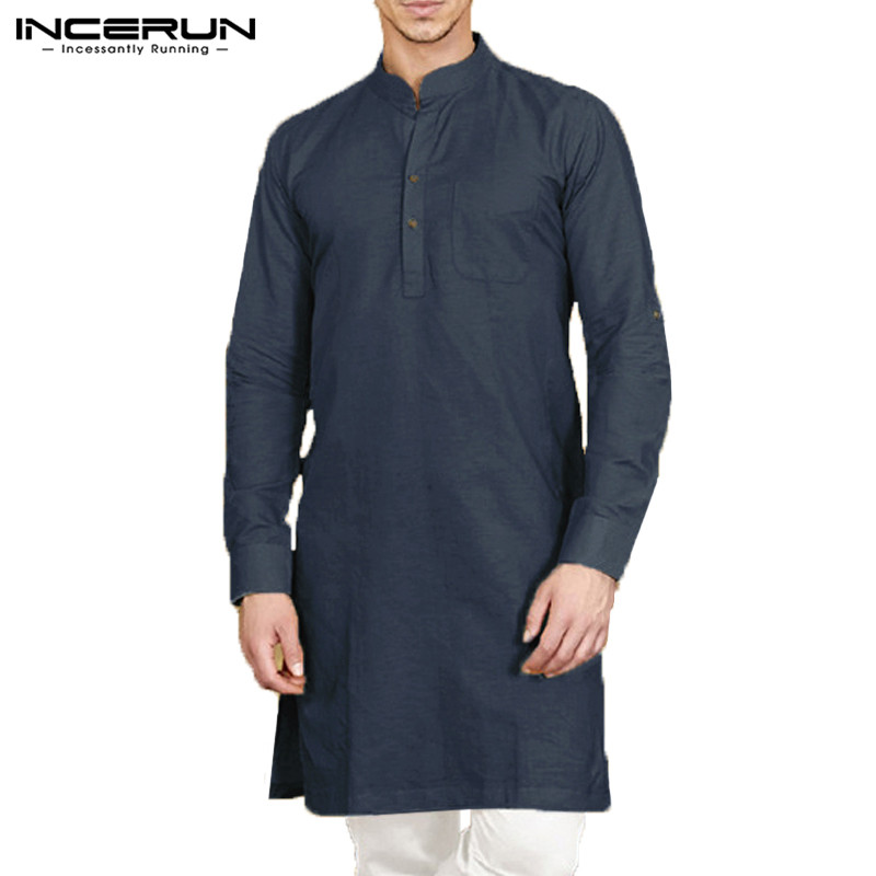 INCERUN Casual Men Shirt Stand Collar Long Sleeve Button Cotton Vintage Men Long Shirt Indian Clothes Solid Color Men Tops 2020