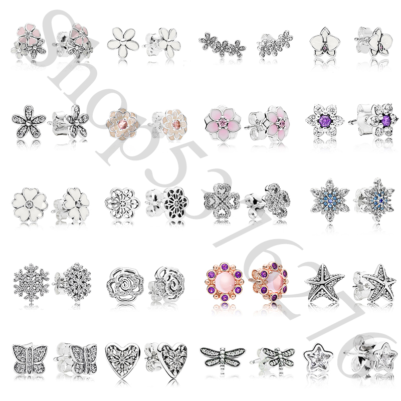 925 Sterling Silver Original Daisy Flower Snowflake Orchid Starfish Europe Stud Earrings title=