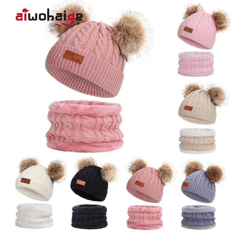 New 2 Pieces Baby Winter Hat Scarf Set Boys Girls Cute Double Fur Ball Cap Kids Thick Plus Velvet Knit Beanie Warm Accessories