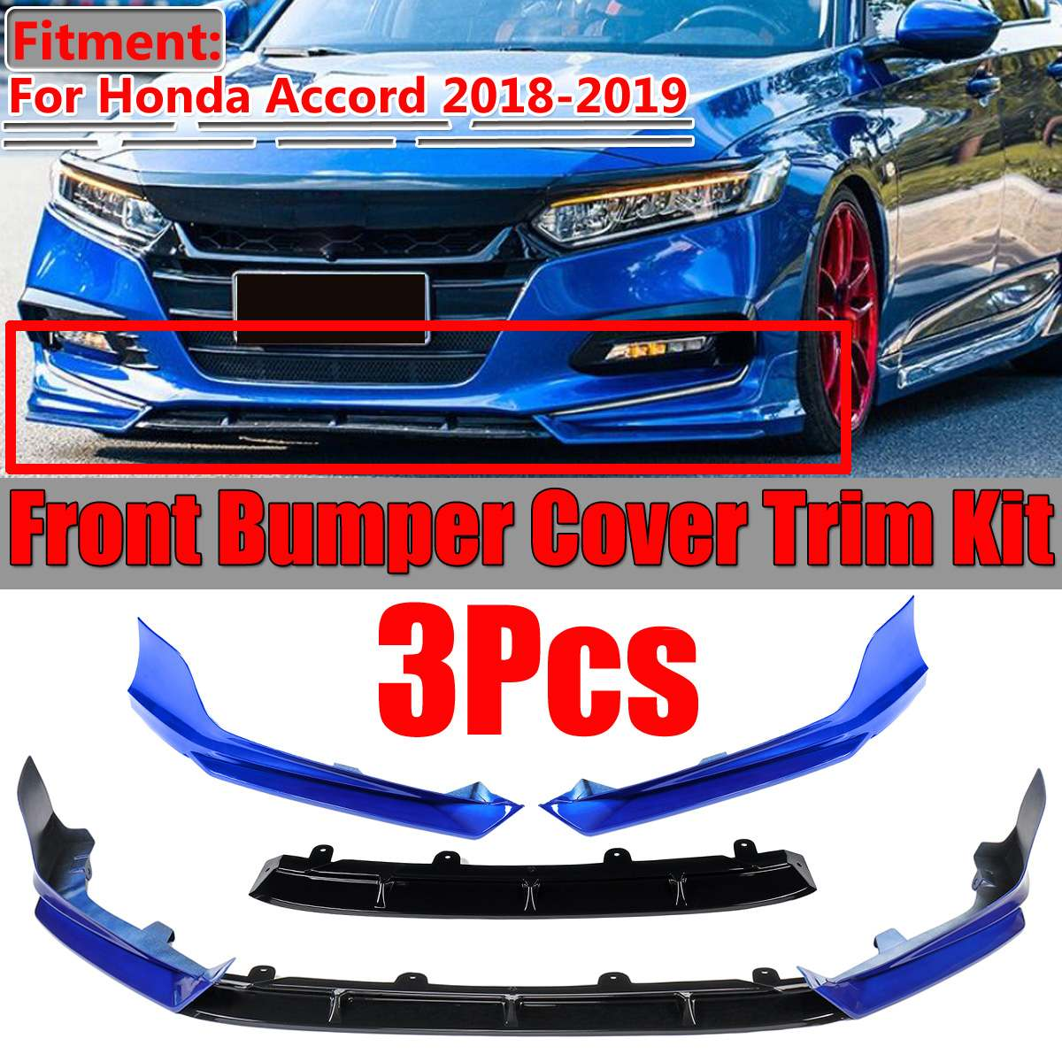 Glossy Black Car Front Bumper Cover Grille Cover Trim For Honda Accord 18-19