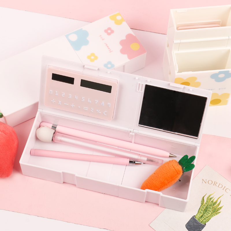 JIANWU 1Pc Stationery Box  With Calculator And Mirror 4 In 1 Multi-function Large Capacity Pencil Box Penholder School Supplies