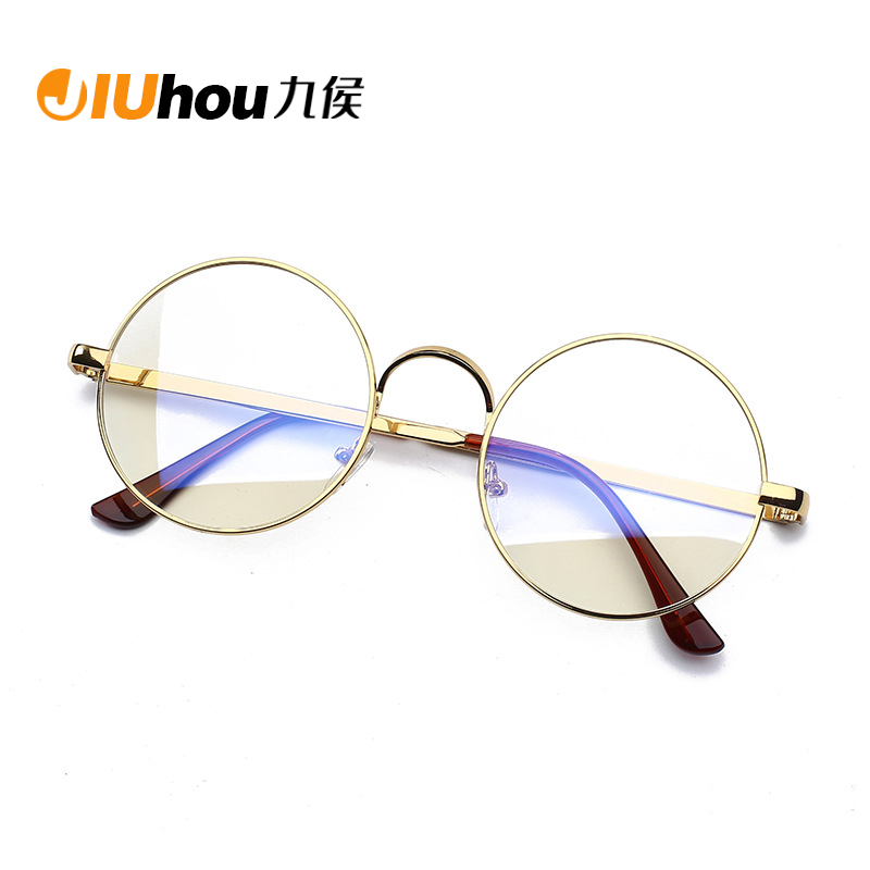 Anti-blue Anti-fatigue Glasses Goggles Female Eye Protection Computer Round Flat Mirror No Degree Plane Mirror Male Eye Blue Ray