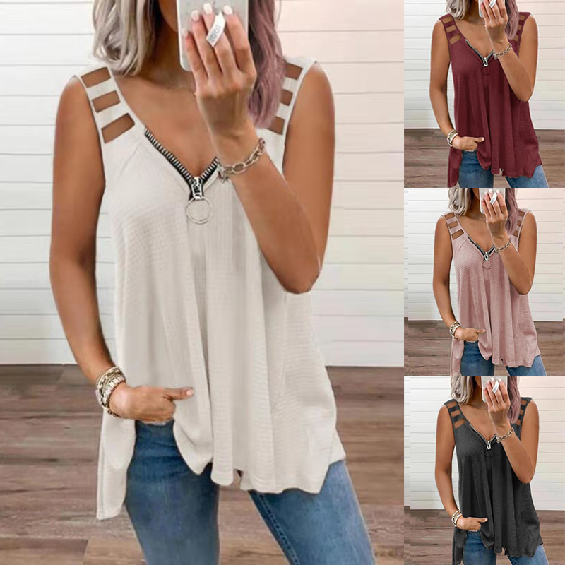 Women Sexy Hollow-Out Lady Fashion Tops Casual Clothes Sleeveless V-neck Loose Tshirts Zipper Plus Size T-Shirt Femme Tunic