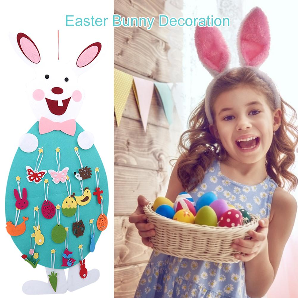 DIY Easter Bunny Decoration Set Felt Bunny Set With Detachable Alphabet Easter Ornament Kids Easter Gift For Wall Decoration