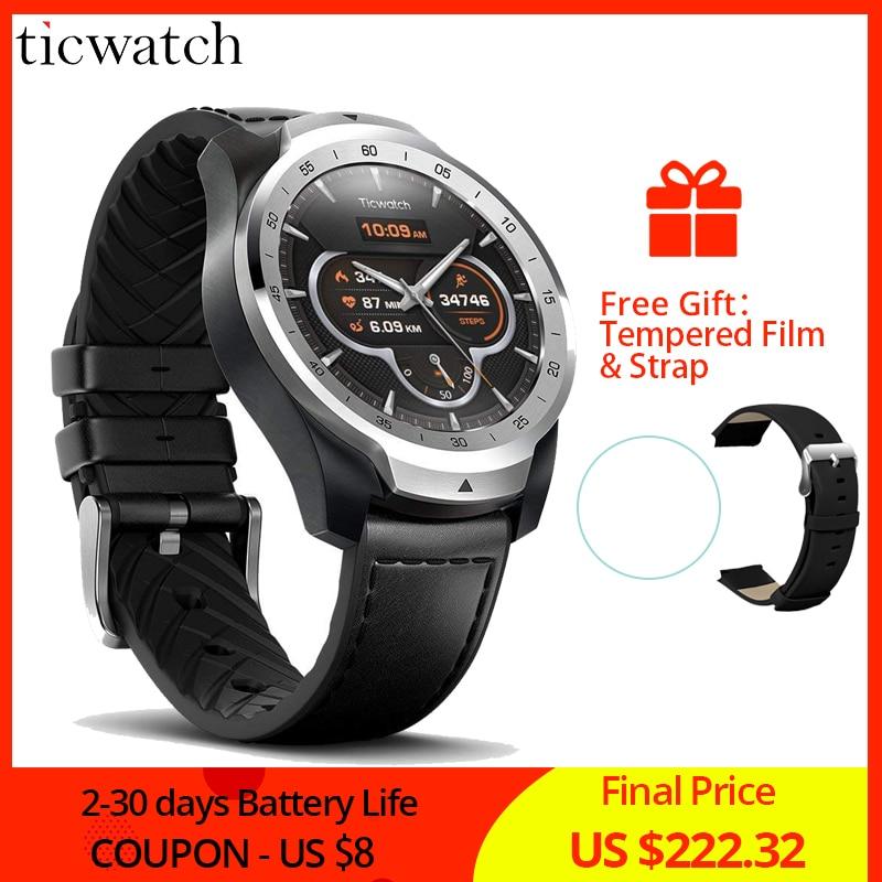 Original Ticwatch Pro Esporte Relógio Inteligente Bluetooth WI-FI NFC Pagamentos/Assistente Google Android Desgaste IP68 Smartwatch GPS À Prova D' Água